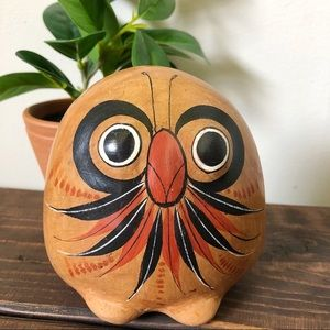 Wooden Owl Decor Small Vintage Painted Boho